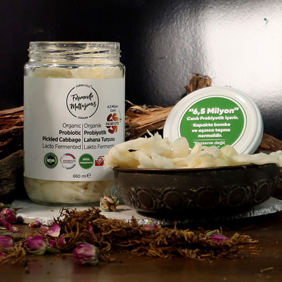 Fermente Mutfağım - Organik Probiyotik Lahana Turşusu Lakto Fermente 660 ml (1)